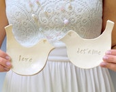 2  LOVE birds set -white  with LOVE and JETAIME
