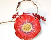 Red Poppy Ornament with berry garland handmade Christmas or everyday Garden Magic Series