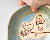 Ceramic Bird bowl  mama or daddy and baby bird  Mothers Day gift Blue glaze handbuilt pottery Flock of Love