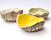 dipping sauce bowl ceramic bowls set of 3 hand built prep bowls pottery Yellow, Green, White Gourmet Cook Garden