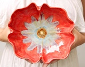 Red Poppy Bowl ceramic bowl handmade pottery with Ice Blue hand built sculpture wedding decor