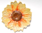 Ceramic Sunflower pottery wall hanging stoneware pottery Yellow
