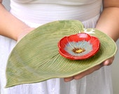 Ceramic serving plate Hosta Leaf platter tray Green wedding table setting Handmade ceramic pottery