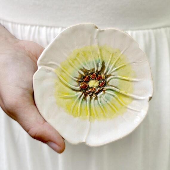 White Poppy tea bag holder spoon rest pottery soap dish hand built stoneware wedding favor
