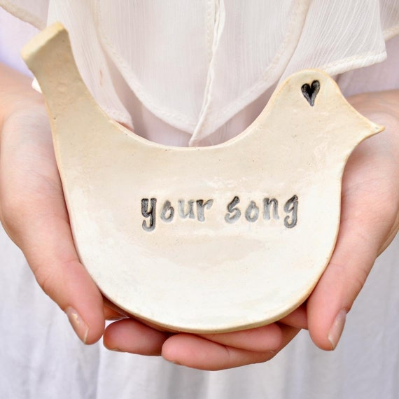 Song Bird Custom Order bird text tray stamped with any song title