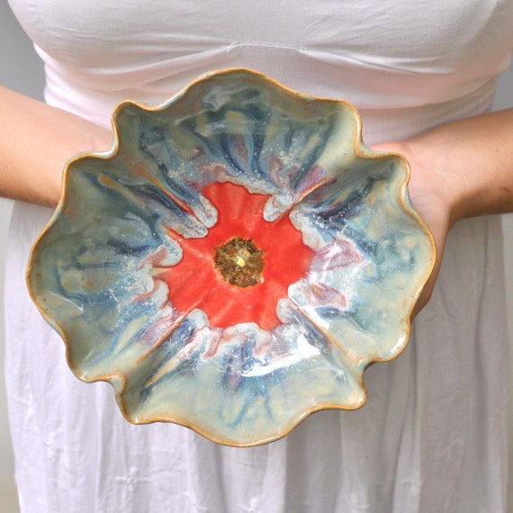 Poppy Bowl stoneware pottery dinnerware bowl Ice Blue and Red wedding table setting
