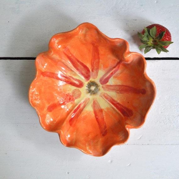 pottery bowl Poppy Bowl  ceramic bowl SECONDS SALE stoneware pottery Orange glaze