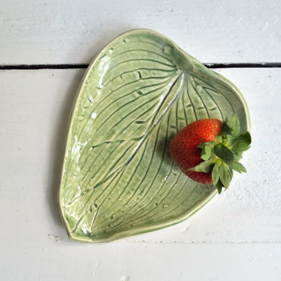 Modern Ceramic plate leaf serving platter SECONDS SALE hosta Leaf  Celadon Green Sushi plate wedding favor