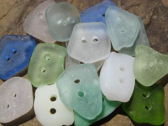 Beach Glass Buttons Drilled Beach Glass MIXED BULK LOT Sea Glass Buttons
