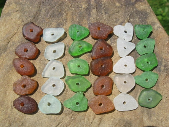 Beach Glass Beads Drilled Sea Glass Beads MULTI COLOR Bulk Lot