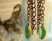 Grass and Mint Chain Earrings