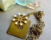 Number 43 Vintage Brass Necklace