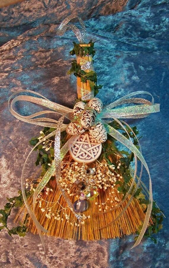 Winter Wonderland Pentacle Mini Broom Ornament/Charm/Decor