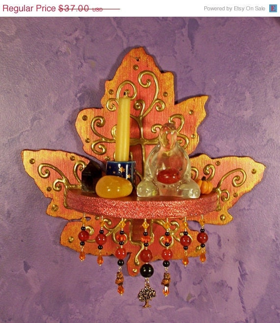 On sale leaf wall altar ooak decor by earthstarstudios on etsy for Altar wall decoration
