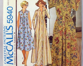 1978 House dress and robe Pattern McCalls 5940 Sized Medium Front Yoke and placket Flared dress Floor length Pointed Collar Bust 34 - 36