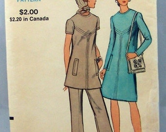 1960s Dress and Pants pattern, Vogue 7938 Pattern, Size 12 Bust 34, short sleeve, Vogue dress pattern, Designer Vogue, Long sleeve, UNCUT