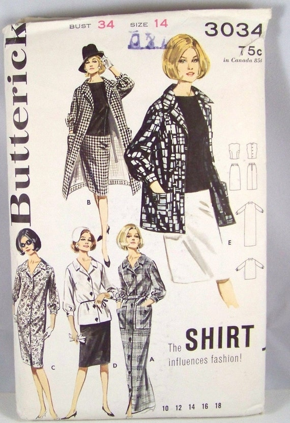 Sale Vintage Butterick 3034 Sewing Pattern Misses Dress, Skirt, Sleeveless Top, Jacket, Coat and Overblouse Size 14 Bust 34