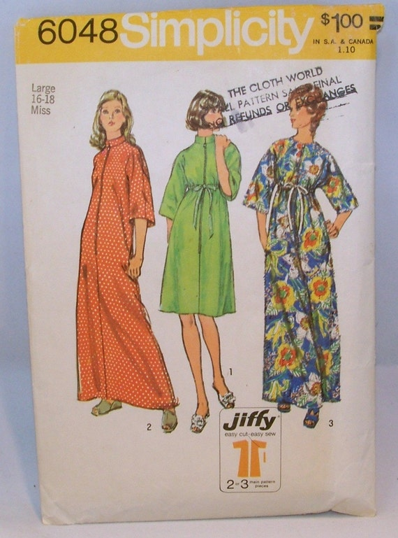 Vintage 1973 Simplicity 6048 Sewing Pattern Jiffy Robe Long or Short Bust 38 - 40