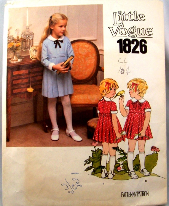 Vintage Little Vogue 1826 High Waisted Shirley Temple Dress Girls Size 5 Chest 24 Sewing Pattern