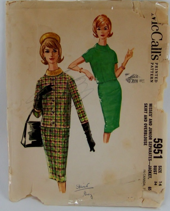 Vintage 1961 Pan Am Style McCalls 5951 Coco Chanel By