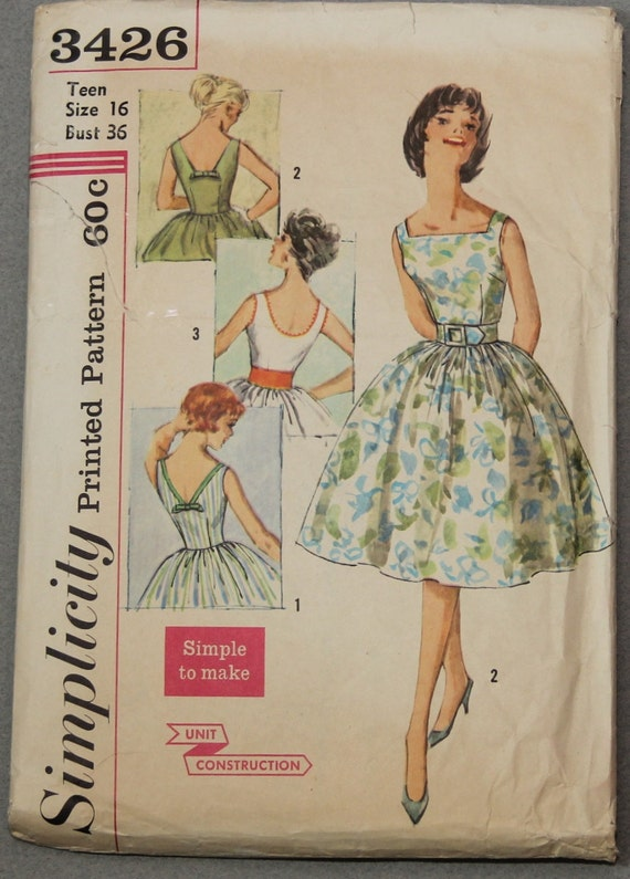 Vintage Simplicity Sewing Pattern 3426 Simple to make Sleeveless Square Neckline and 3 Different Backs Bust 36