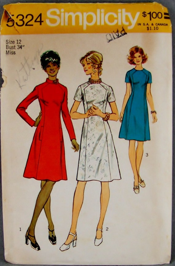 1970s A Line Princess Style Dress Pattern Simplicity 5324 Angled seam interest at the bodice Long or short sleeves Size 12 Bust 34