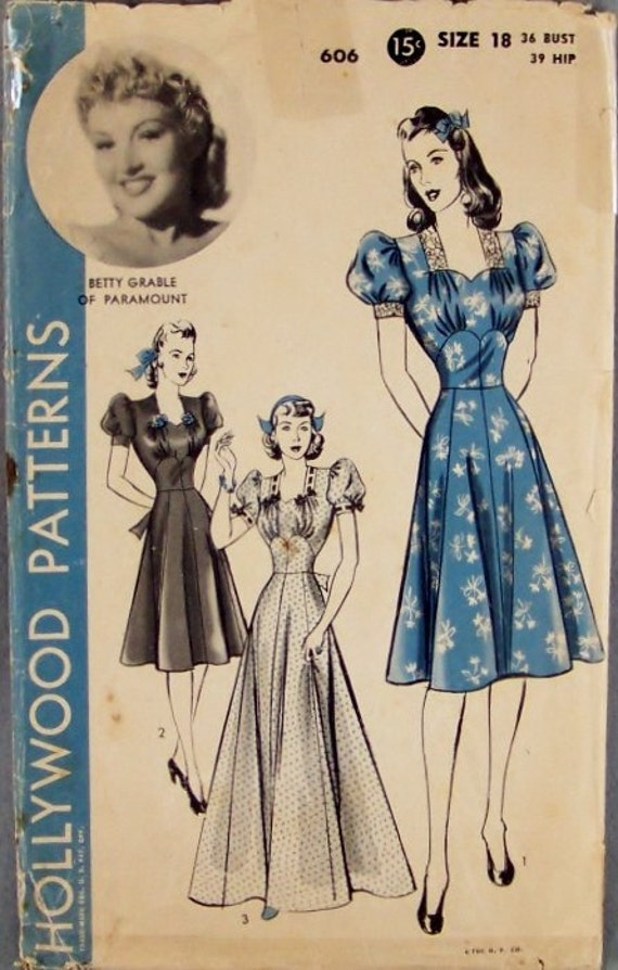 Reserve for Tval61 Vintage 1930's Hollywood Patterns 606 Betty Grable one piece Dress with gathered Corset Effect Puff Sleeves Bust Size 36