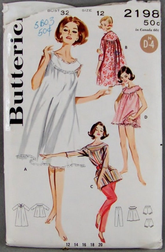 Vintage Butterick 2198 Sewing Pattern Lingerie and Sleepwear Bust 32 Baby Dolls