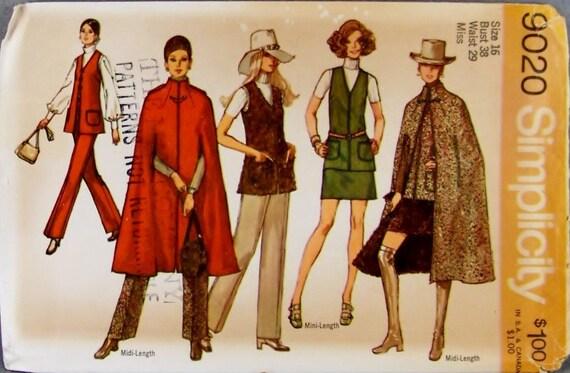 Classic Simplicity 9020 Sewing Pattern Mini Skirt, Midi Cape Vest and Pants Size 16 Bust 38 UNCUT