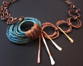 Patina Necklace - Sea Spray double chains design - Verdigris Gypsy - Bridal jewelry - copper jewelry- handmade in Austin, Tx