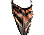 Copper fringe Necklace - Small V Pattern Fringe Necklace - Lion Fish Design II - handmade copper jewelry- handmade in Austin, Tx