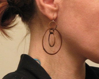 Copper Hoop Earrings,  Modern Swivel - handmade copper jewelry - handmade in Austin, Tx