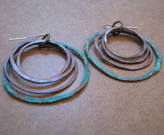 Patina earrings - Four Rings One with Patina - copper jewelry