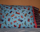 Children's Train Handmade Pillowcase--Standard Size--Blue Train Body With Zig-Zags