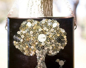 Steampunk Tree Cigar box purse - made with antique watch gears and parts