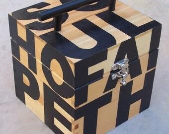 Wooden box purse - Faith, Hope, Peace, Love, Soul - OOAK