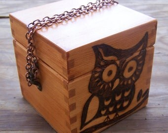 Wooden Box Purse - Wood Burned Owl