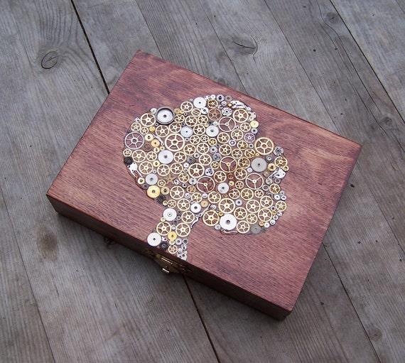Wooden Trinket  box - Steampunk Tree