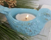 bird candle holder, robins egg blue or 25 other colors