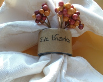 thanksgiving napkin rings holiday decor entertaining Christmas dinner party fundraising event unique tabletop give thanks Beach House Dreams