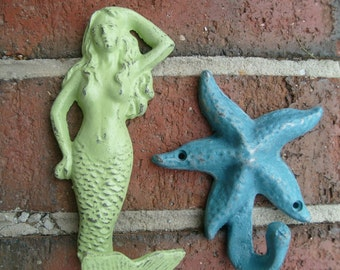 mermaid starfish towel hook bathroom nautical beach coastal living mudroom foyer coat cottage renovation interior design BeachHouseDreams