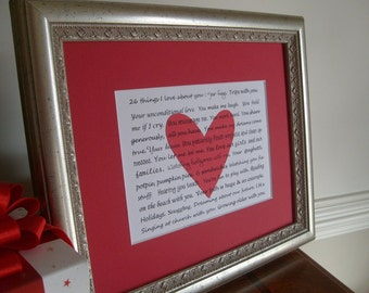 Personalized Valentines gift, 10 things I love about you 5 x 7 print, custom romantic gift with your words