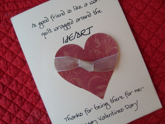 warm valentine friend card with heart and ribbon for good friends, coworkers, extended family or long distance greetings