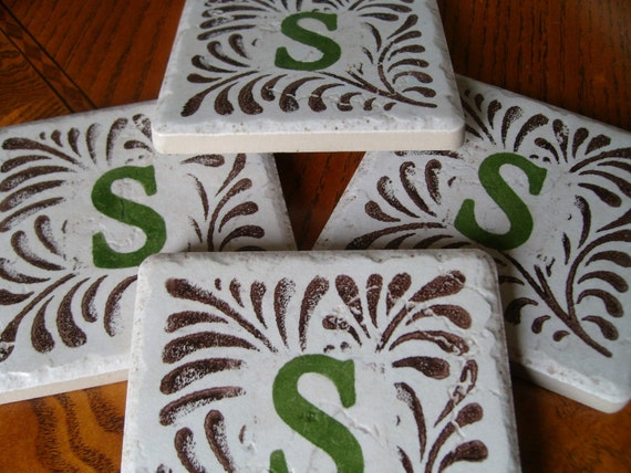 monogrammed coasters, set of 4, in chocolate brown and OLIVE GREEN, or ROYAL PURPLE, affordable practical gift for Christmas, birthday, anniversary, house warming, hostess gift