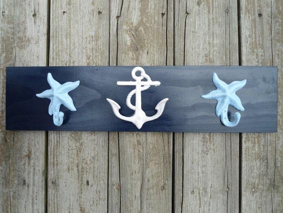 Items Similar To Anchor Starfish Towel Hooks Nautical