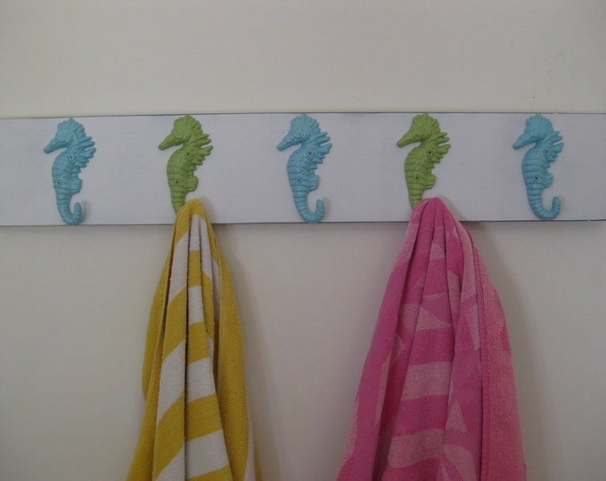 seashorse beach home decor outdoor towel hanger beach towel rack nautical hook boards pool hot tub outside shower BeachHouseDreamsHome