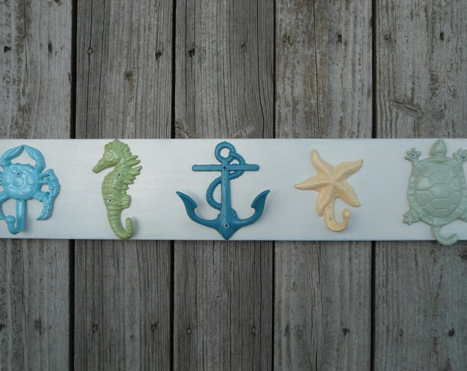 Outdoor beach towel hooks outside shower pool rack hot tub Nautical coastal decor 10 UNmounted hooks mermaid anchor cleat BeachHouseDreams