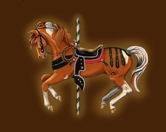 Lyric the Cowpony - Pinto Horse Carousel Fine Art Note Cards