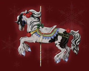 Winter Snowfall Isabella ~ Gypsy Vanner Carousel  ~ Fine Art Note Cards