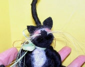Wool Tuxedo Cat with Ball Ornament
